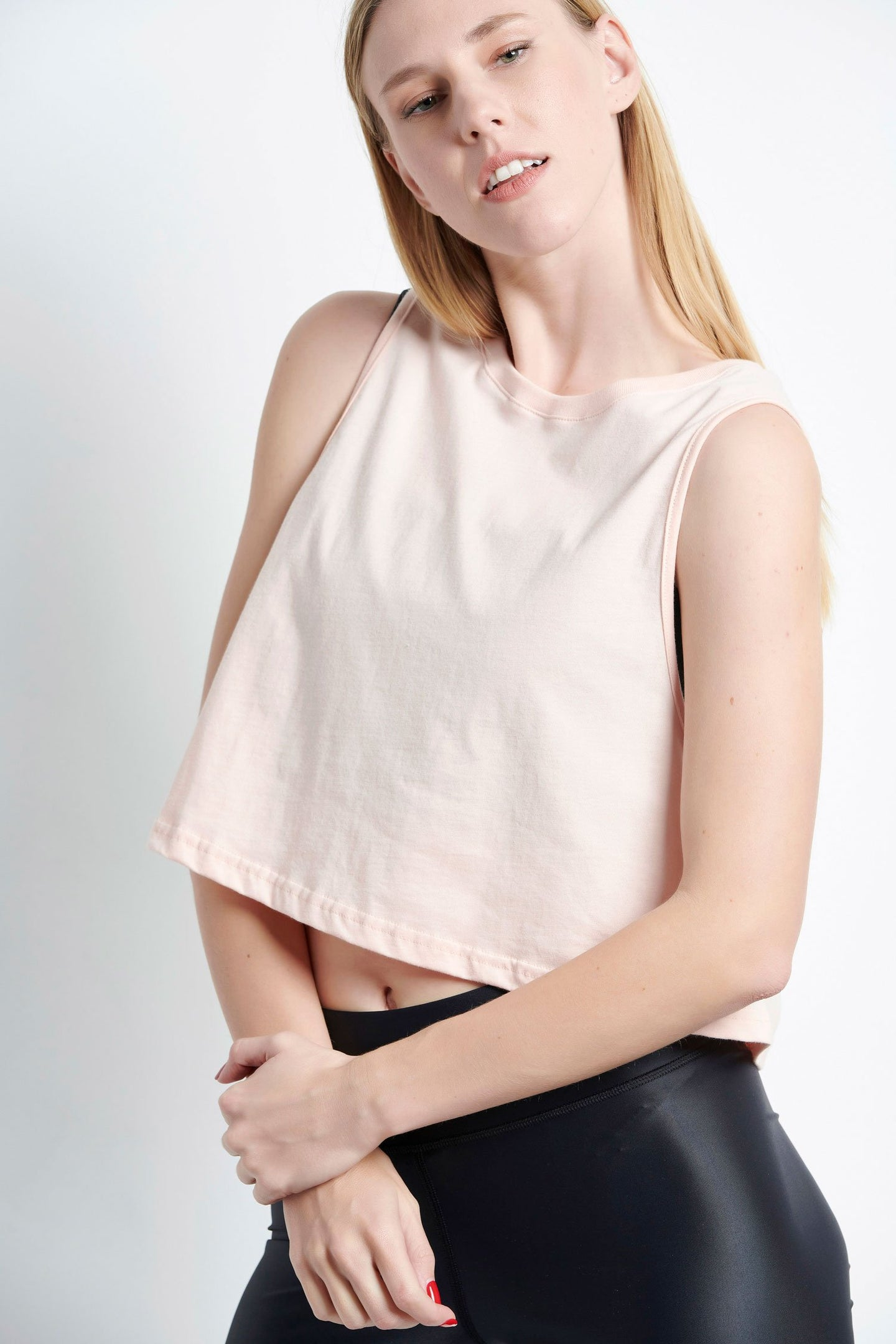 Ärmelloses Cropped Top - lachs