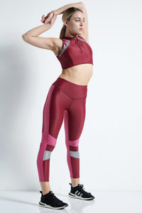 Running Leggins lang - bordeaux/pink