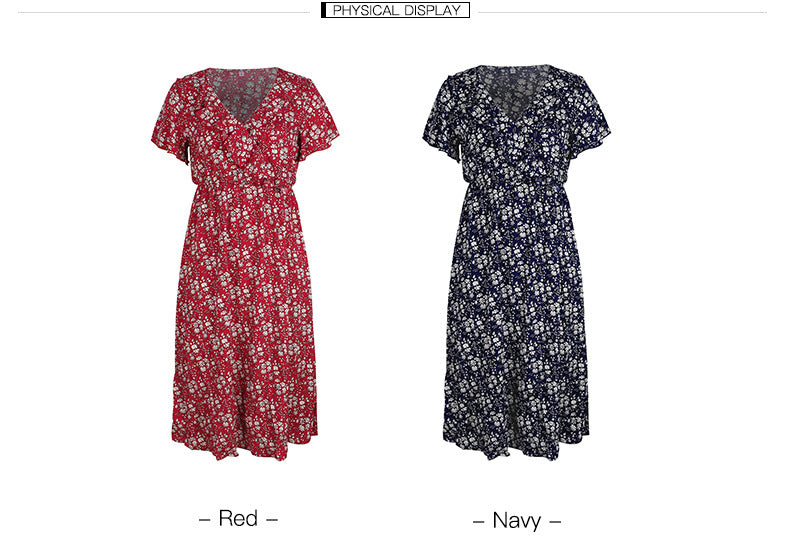 Fashion women floral short sleeve dress_2