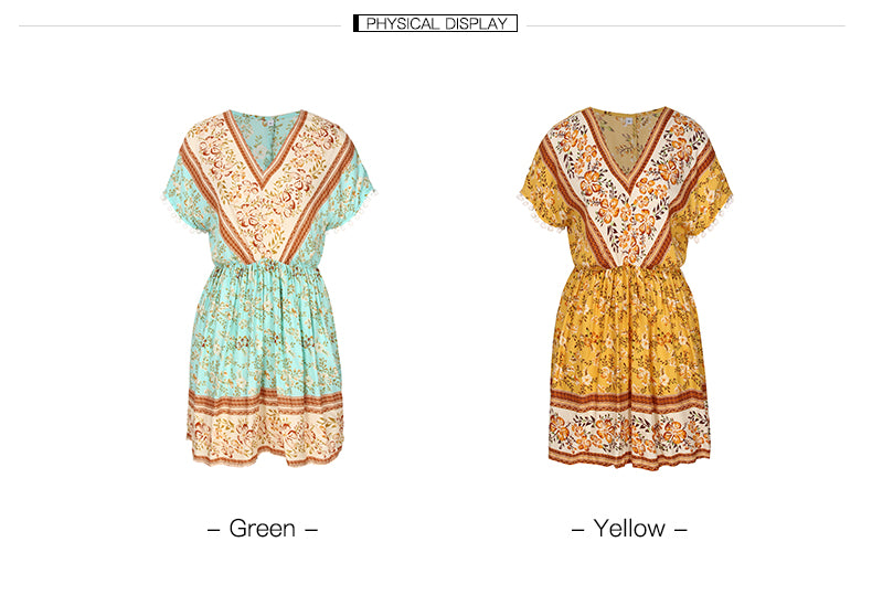 V-neck mid-waist flower branch dress_2