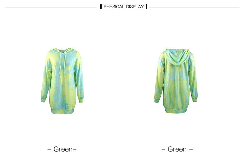 Women's loose casual tie-dye hooded dress_2