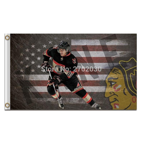 Chicago Blackhawks Flag USA With Stars And Stripes Country Flag 3x5 Ft Custom Banner 90x150cm Sport Flag Chicago Blackhawks