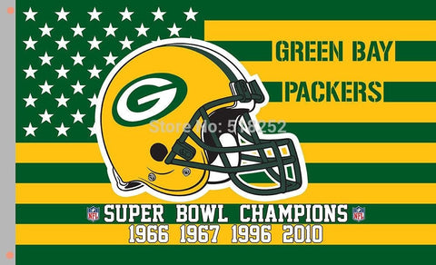 Green Bay Packers stars and stripes Helmet USA Flag 3x5 FT 150X90CM NFL Banner 100D Polyester Custom flag6