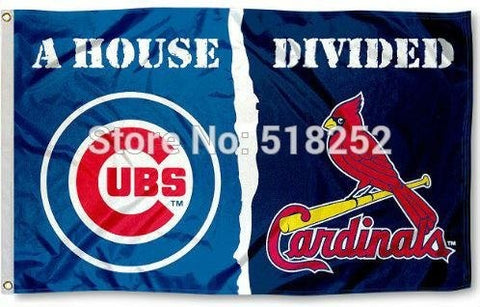 Chicago Cubs and St. Louis Cardinals House Divided Flag 3x5 FT MLB 150X90CM Banner 100D Polyester Custom flag grommets 6038