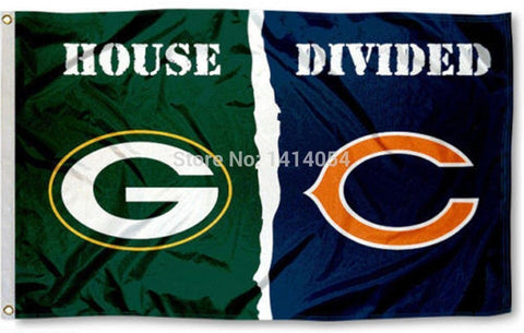 Green Bay Packers Chicago Bears House Divided Flag 150X90CM NCAA 3X5FT Banner 100D Polyester grommets custom009,