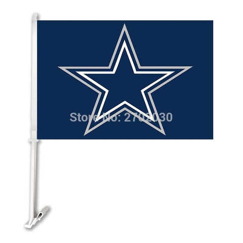 Dallas Cowboys Car Flag 30x45cm Polyester Double Sided Banner 50 Cm Pole Super Bowl Champions Dallas Cowboys Car Window Flag