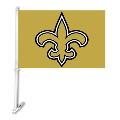 New Orleans Saints Double Sided Car Product Car Flag Banner Super Bowl Champions 30x45cm Polyester Banner 50cm Plastic Flag Pole