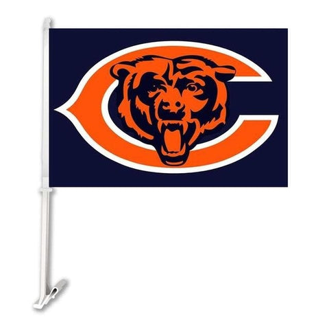 Chicago Bears Double Sided Car Flag Banner Super Bowl Champions 30x45cm Polyester Banner 50cm Plastic Flag Pole Car Products