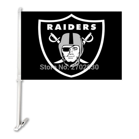 Oakland Raiders Car Flag Black Super Bowl Football Fan Car Banner Double Sided Banner With 50cm Plastic Flag Pole Oakland Raider