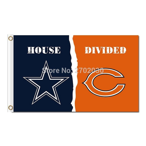 Dallas Cowboys Flag Vs Chicago Bears Flag World Series 2016 Footbal Banner 3ft X 5ft Jersey Premium Team Flags