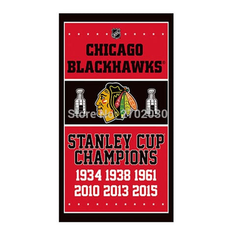 Chicago Blackhawks Team Flag Stanley Cup Champions Banner Club Polyster Custom Flag 2010 2013 2015 Chicago Blackhawks 010