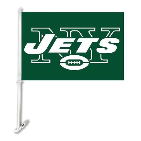New York Jets Double Sided Car Product Car Flag Banner Super Bowl Champions 30x45cm Polyester Banner 50cm Plastic Flag Pole