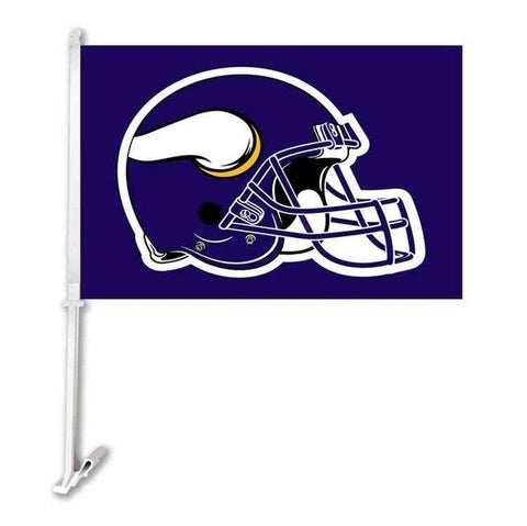 Minnesota Vikings Double Sided Car Product Car Flag Banner Super Bowl Champions 30x45cm Polyester Banner 50cm Plastic Flag Pole
