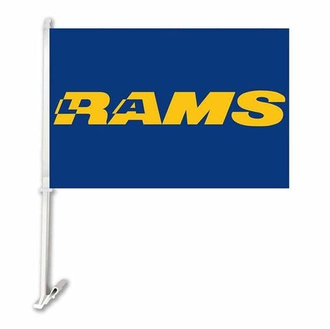 Los Angeles Rams Double Sided Car Product Car Flag Banner Super Bowl Champions 30x45cm Polyester Banner 50cm Plastic Flag Pole