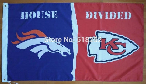 Denver Broncos Kansas City Chiefs House Divided Flag 3x5 FT 150X90CM NFL Banner 100D Polyester Custom flag603