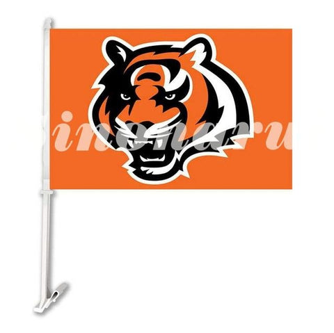"Cincinnati Bengals Print Car Flag Double Sided  Banners 29*45CM With Sleeve Pole 12""x18"" Digital Printed"