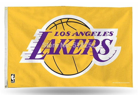 Los Angeles Lakers Flag 3x5 FT 150X90CM Banner 100D Polyester NBA flag 120