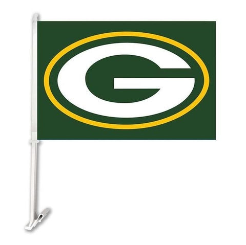 Green Bay Packers Double Sided Car Flag Banner Super Bowl Champions 30x45cm Polyester Banner 50cm Plastic Flag Pole Car Products