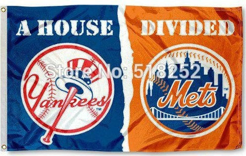 New York Yankees and NY Mets House Divided Flag 3x5 FT 150X90CM Banner 100D Polyester Custom flag grommets 6038