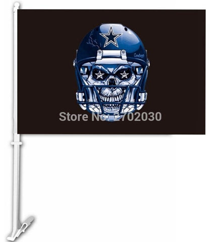Dallas Cowboys Skull Helmet Car Flag 11 X 15 Inch Polyester Double Sided Banner With 50cm Plastic Flag Pole Car Supplies