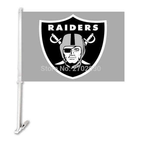 Car Flag Oakland Raiders Banner Double Sided Banner With 50cm Plastic Flag Pole Super Bowl Champions Oakland Raiders Flag
