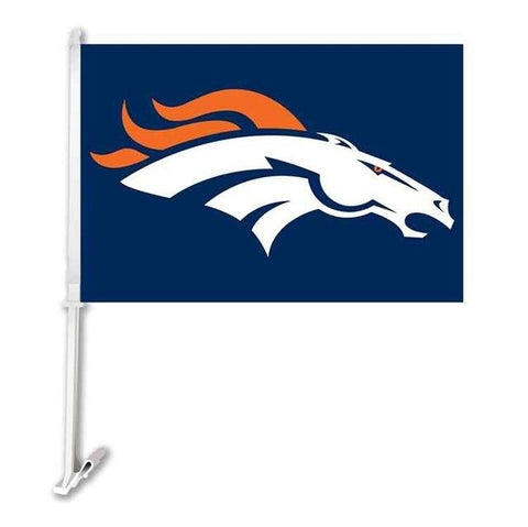 Denver Broncos  Double Sided Car Flag Banner Super Bowl Champions 30x45cm Polyester Banner 50cm Plastic Flag Pole Car Products