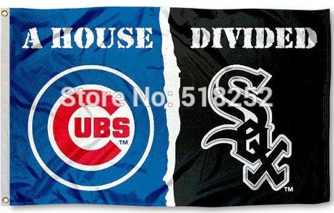 Chicago White Sox and Chicago Cubs House Divided Flag 3x5 FT 150X90CM Banner 100D Polyester Custom flag grommets 6038