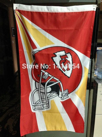 Kansas City Chiefs Helmet  Flag  150X90CM Banner 100D Polyester3x5 FT flag brass grommets 001