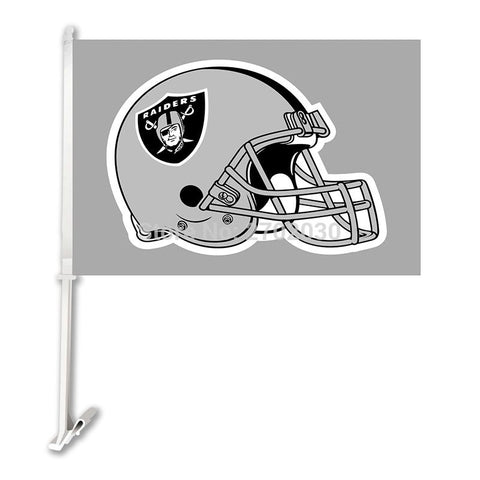 Oakland Raiders Car Flag Helmet Gray Double Sided World Series 30x45cm Polyester Double Sided Banner Oakland Raiders Flag