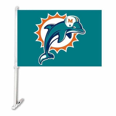 Miami Dolphins Double Sided Car Product Car Flag Banner Super Bowl Champions 30x45cm Polyester Banner 50cm Plastic Flag Pole