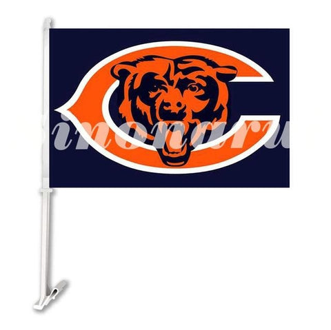 "Chicago Bears Sports Team Car Flag Double Sided  Banners 29*45CM With Sleeve The Pole 12""x18"" Digital Printed"
