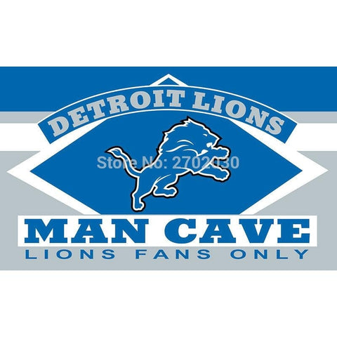 Detroit Lions Fans Only Flag MAN CAVE Banner Flag World Series Football Team 3ft X 5ft Banners Detroit Lions Flag