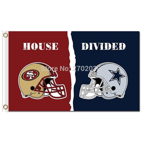 San Francisco 49ers Vs DALLAS COWBOYS House Divided Rivalry Flag Football Team 2016 World Series Flag San Francisco 49ers
