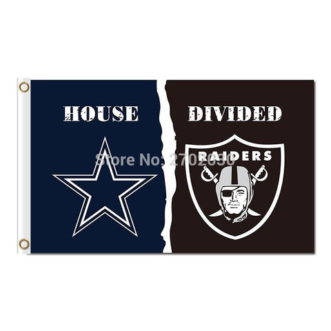 Dallas Cowboys Flag Vs Oakland Raiders Flag World Series 2016 3ft X 5ft Blue Star House Divided Cowboys Oakland Raiders Banner