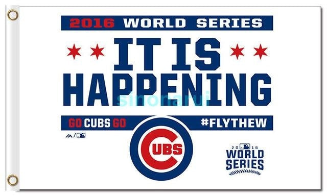 "Chicago Cubs CHAMPIONS 3ftx5ft Flag Banner 2016 World Series Chicago Cubs ""W"" Fan Basball Team Decor Football Chicago Cubs"