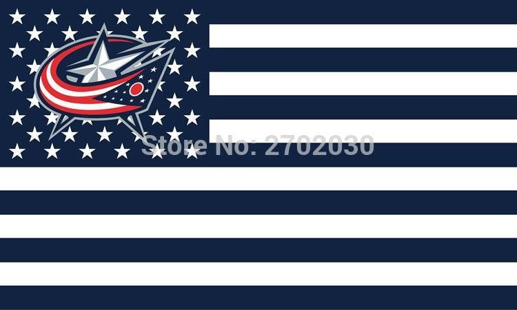 Columbus Blue Jackets Hockey Sports Team Star & Stripe US National Flag 3ft X 5ft Custom Banner With Sleeve Two Gromets 90*150CM