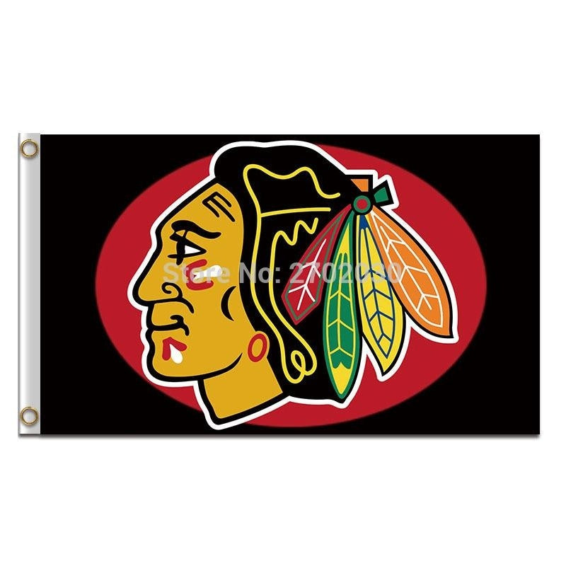 Chicago Blackhawks Flag National Hockey Team League Flags Champions Super Team Chicago Blackhawks Banner Flag