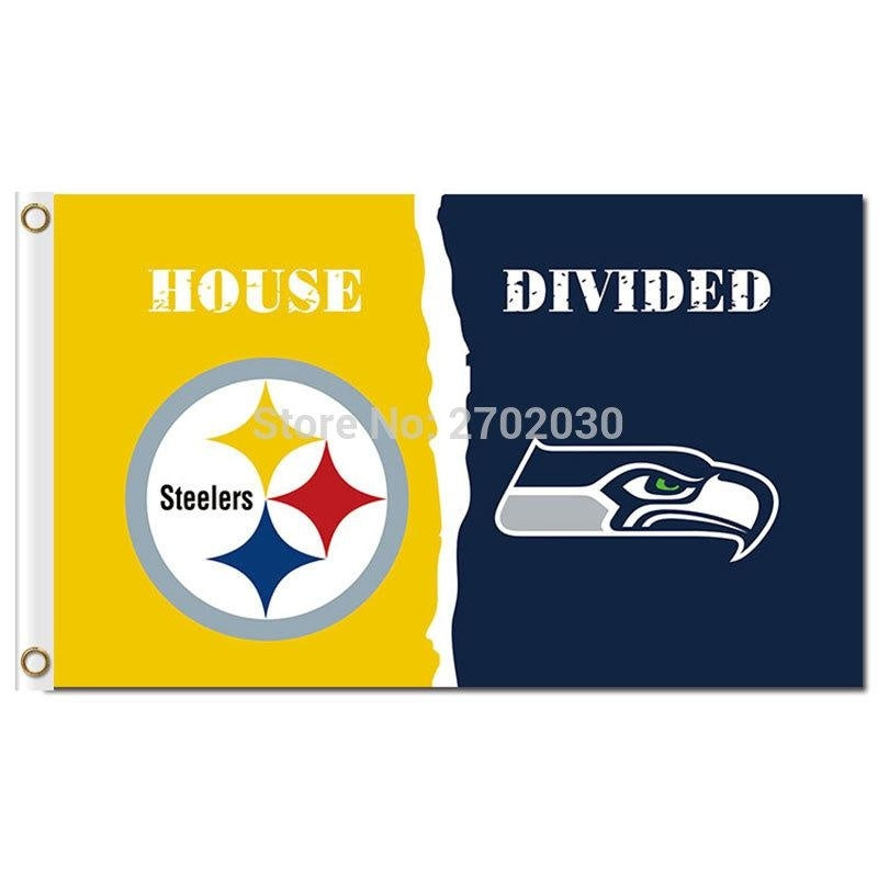Pittsburgh Steelers Flag Vs Seattle 2 World Series Football Team 3ft X 5ft Steelers And Seattle 2 Banner Flag