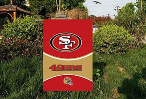 "San Francisco 49ers National Football Team Garden flag kintted polyester double sides 13""X18"" custom flag Home Deco Outdoor"