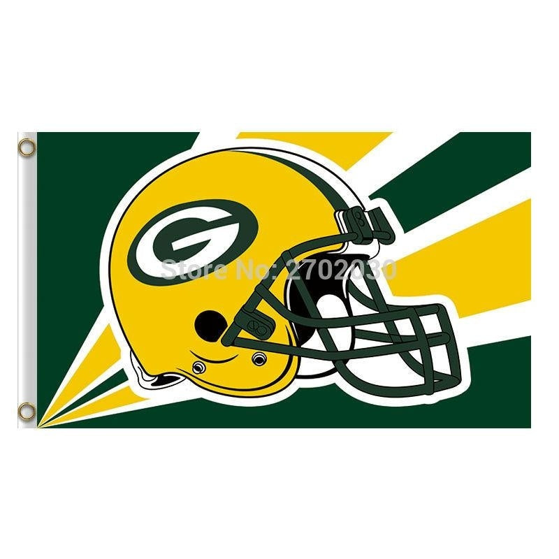 Helmet Design Green Bay Packers Flag Banners Sport Football Team Flags 3x5 ft Super Bowl Champions Banner Fans World Series