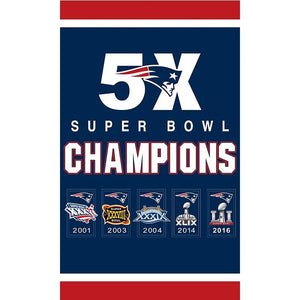 New England Patriots Flag Banner Super Bowl Champions Flags 3x5 Ft Patriots Banners 5X Custom BANNERS