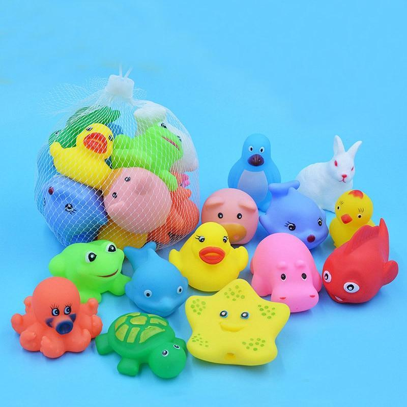 13 Pcs Mixed Animals Swimming Water Toys Colorful Soft Floating Rubber, toys- Babies Deals