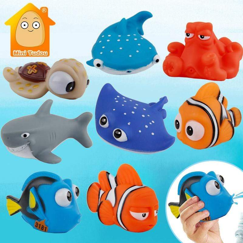 Baby Bath Toys Finding Fish Kids Float Spray Water Aqua Soft Rubber Play Animals, toys- Babies Deals