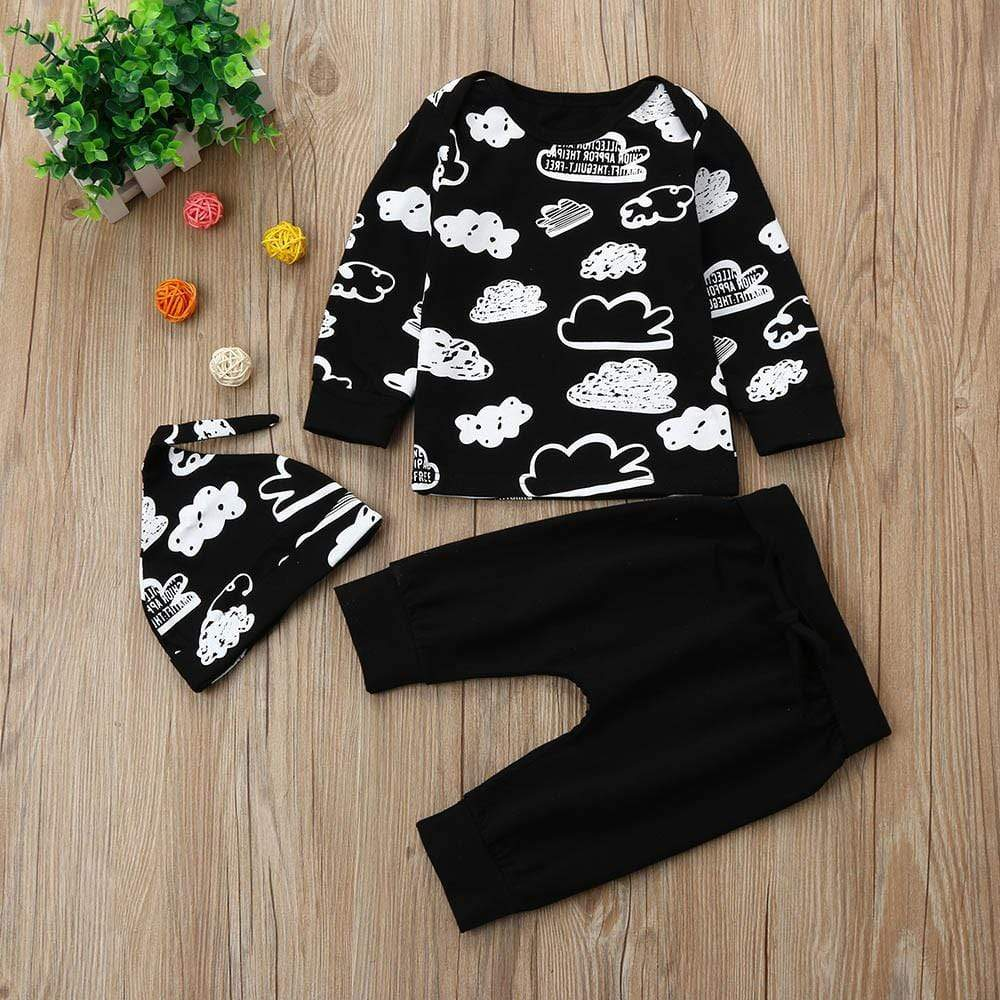 Baby Girl Boy Cloud Print Long Sleeve T Shirt Tops Solid Pants Hat Autumn Outfits, Baby Clothes- Babies Deals