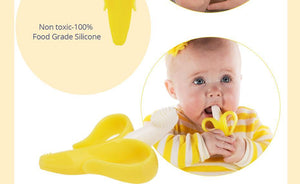 Safe Baby Teether Toys Toddle BPA Free Banana Teething Ring Silicone Chew Dental, toys- Babies Deals