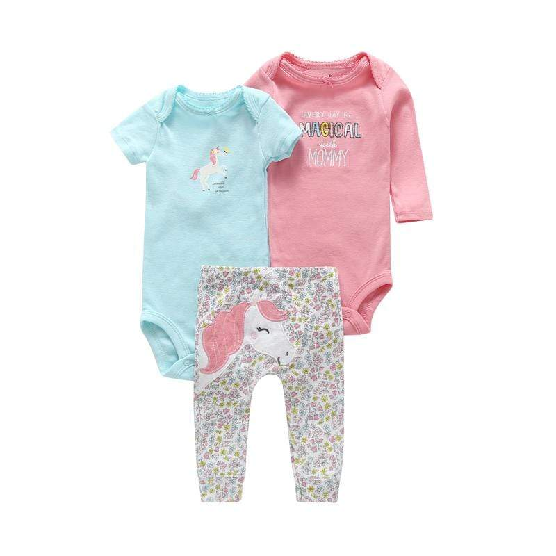 Sale - 15%  6-24 Newborn Outfits 3 pieces Clothing Set for Infant Baby Boy Girl Cute Cartoon Unicorn, Baby Clothes- Babies Deals
