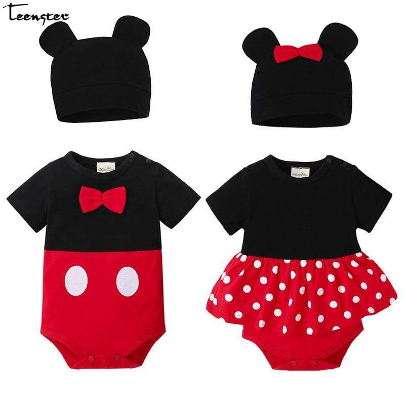 Sale - 15%  Baby Bodysuit Twins Mickey Style Infant Boy Girls Clothes With Hat, Baby Clothes- Babies Deals