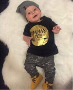 "Sale - 15%  Baby Boy Summer Outfits Infant Casual Short Sleeve ""Mamas Boy"" T-shirt+Pants 2PCS, Baby Clothes- Babies Deals"