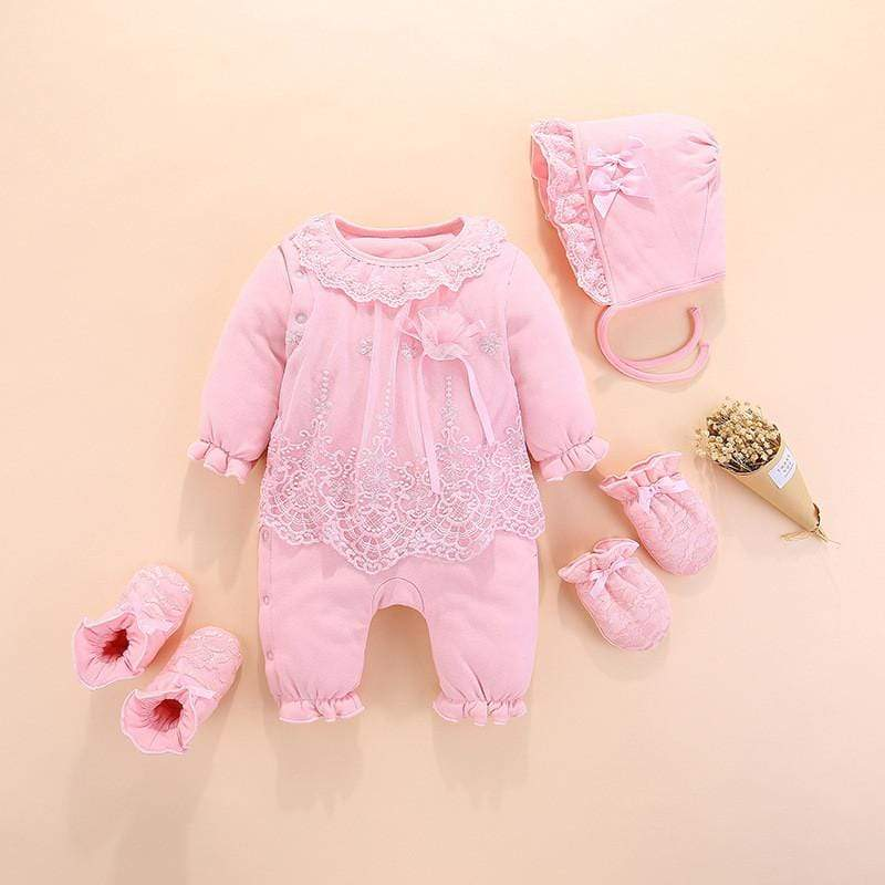 Sale - 15%  Baby Girl Jumpsuit Rompers 4Pcs Baby Hat Gloves Shoes My First Christmas, Baby Clothes- Babies Deals