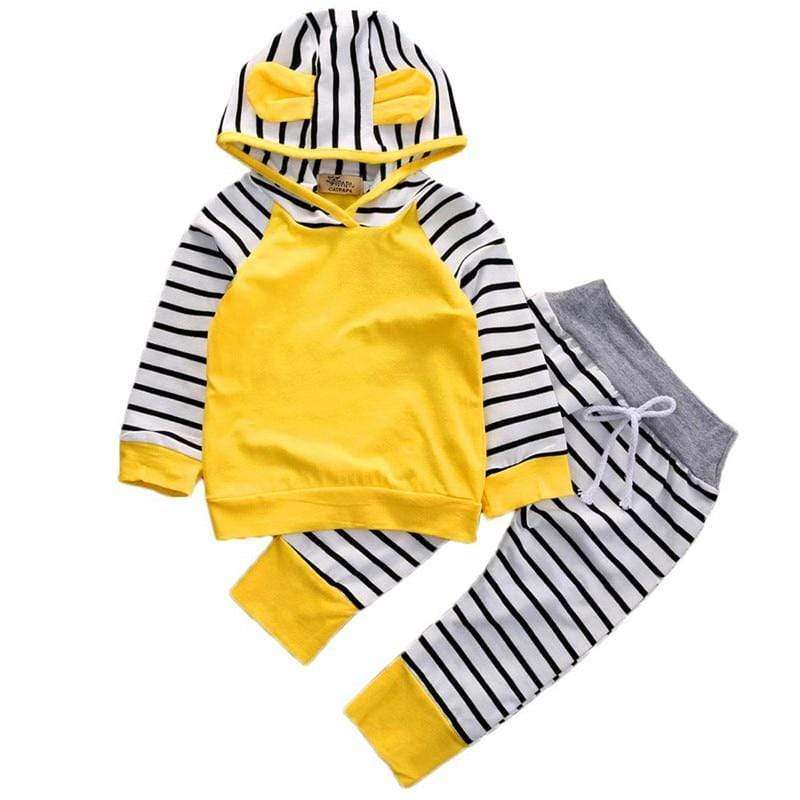 Sale - 15%  Toddler Baby Girl Boy Lovely Rabbit Ear Hoodie Sweatshirts Tops + Long Pants Set Unisex, Baby Clothes- Babies Deals